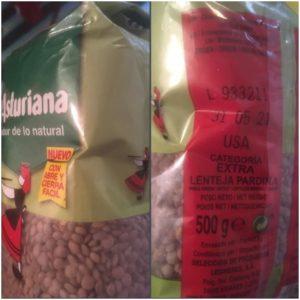 Fotografía de unas lentejas marca La Asturiana de origen USA. ©Supermercado.