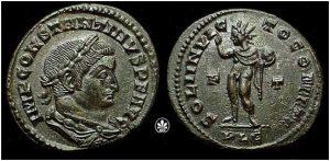 Moneda de Constantino con una representación del Sol Invictus y su inscripción- Copyright © unaderomanos.wordpress 2016